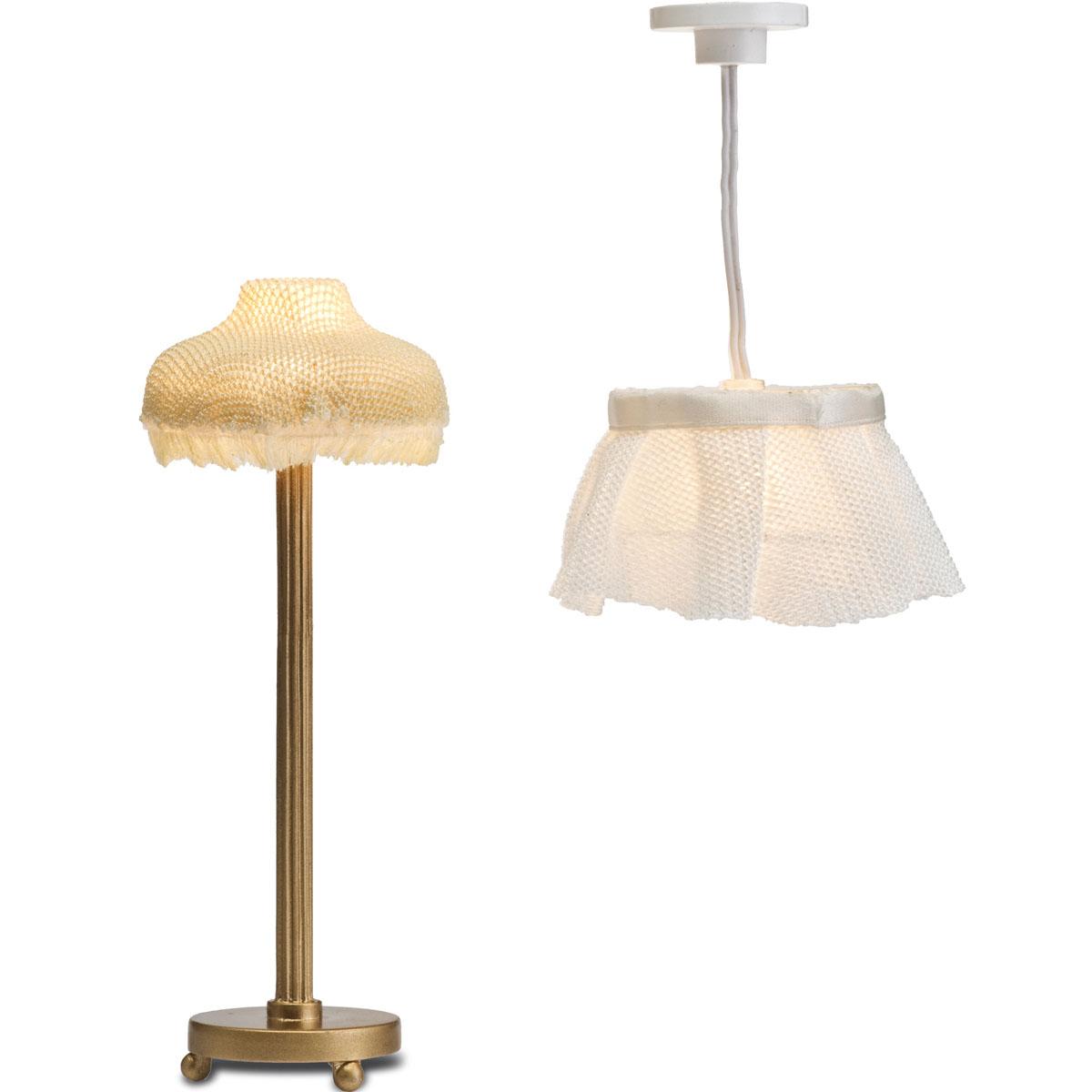 Lundby lampenset lampen lampe 1 18 zubeh r puppenzubeh r for Lampen puppenhaus