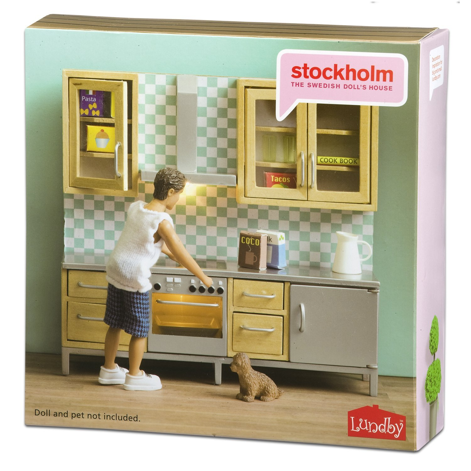 lundby k chenset k chenzeile k che wand kariert 1 18 puppenm bel m bel zubeh r ebay. Black Bedroom Furniture Sets. Home Design Ideas