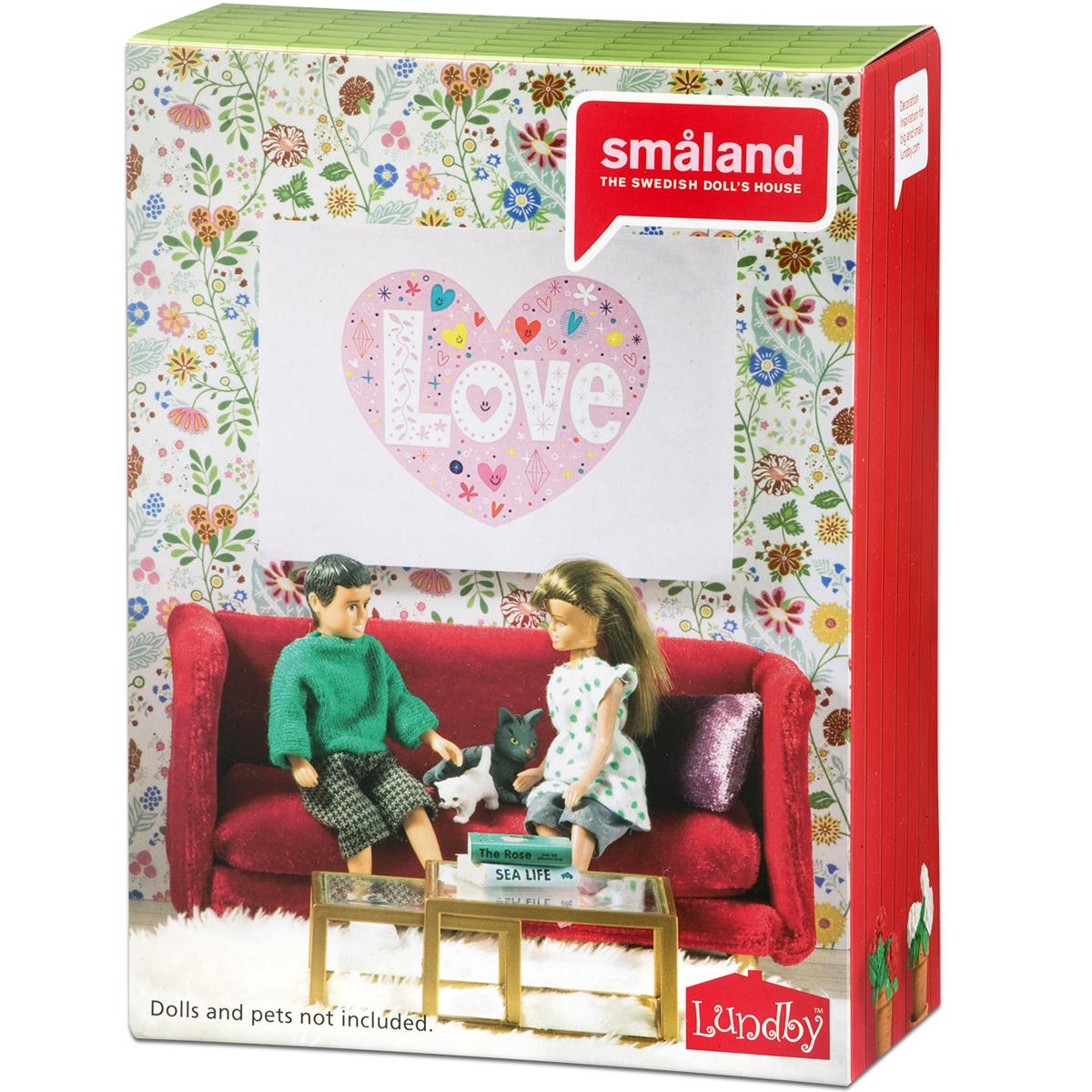 Lundby Wohnzimmer Rot Wohnzimmermöbel 1:18 Puppenmöbel