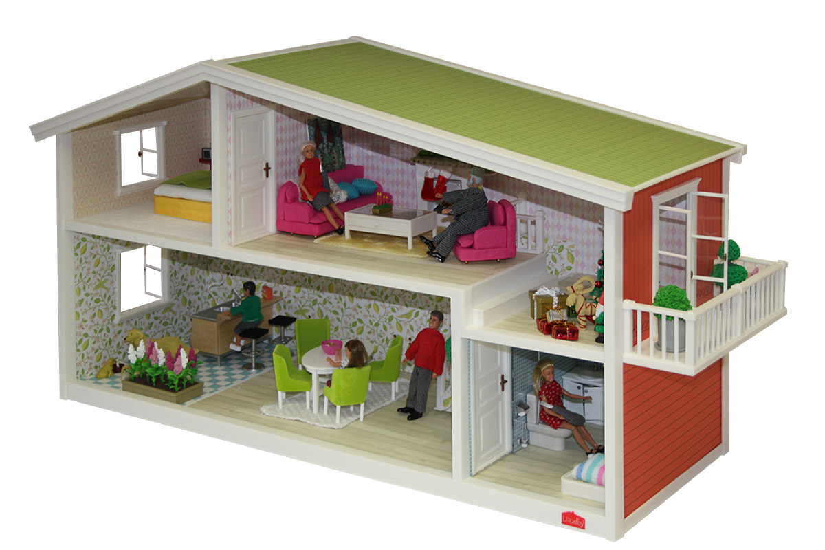 lundby smaland puppenhaus 1 18 komplettset mit zubeh r m bel puppen figuren haus ebay. Black Bedroom Furniture Sets. Home Design Ideas