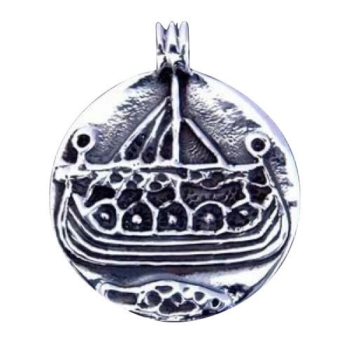 Battle Merchant Runder Silberanhänger Wikingerschiff 1