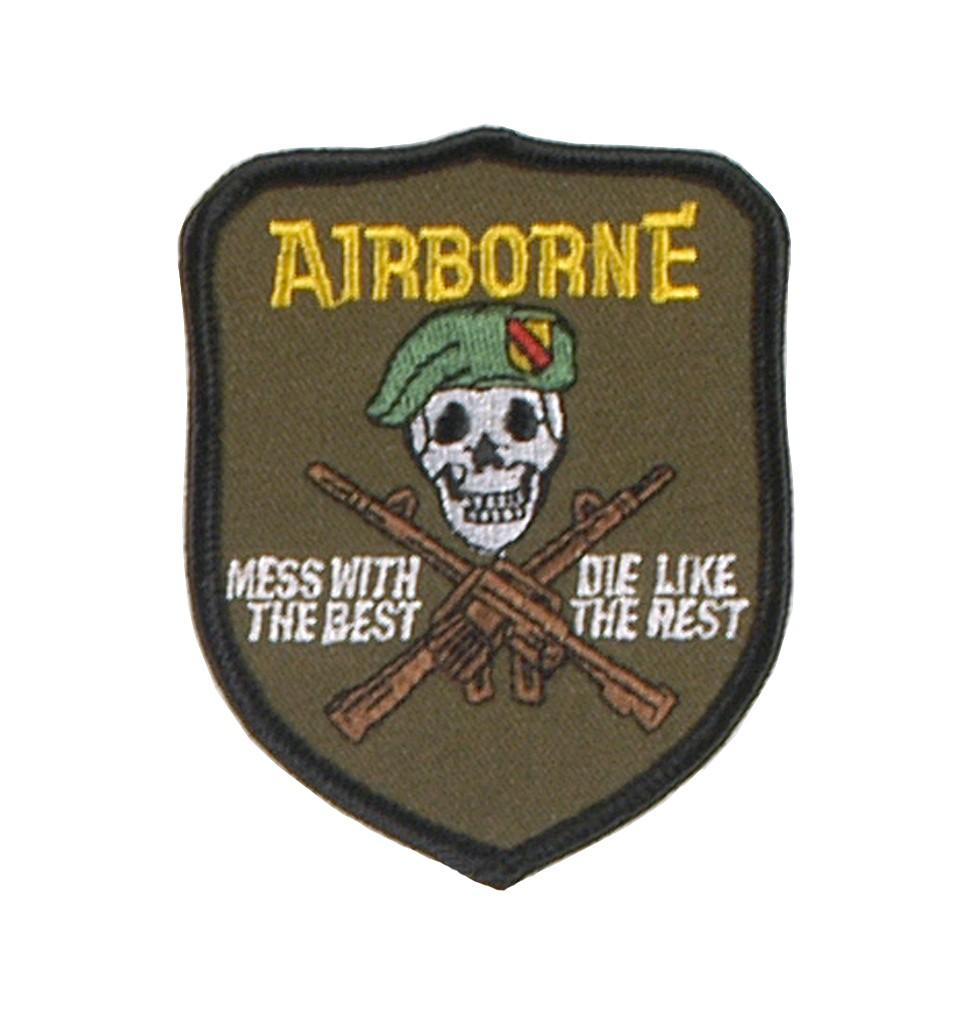 """Stoffabzeichen """"U.S. Airborne - mess with the best"""""""