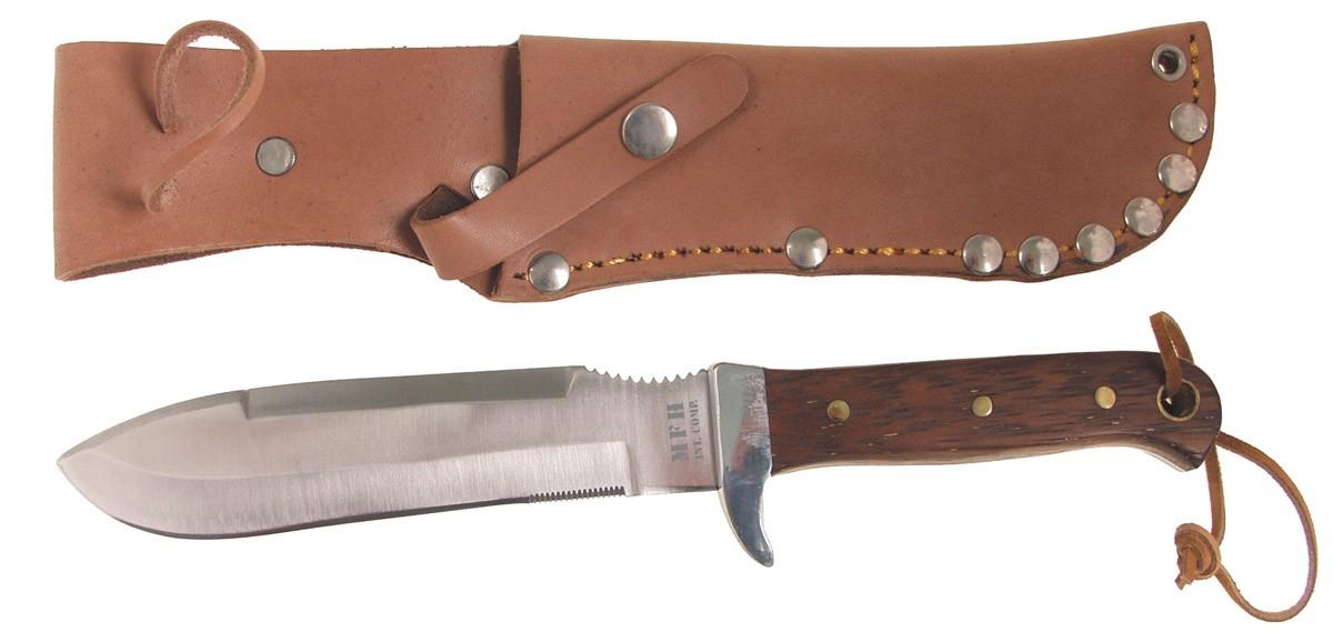 MFH BW Fallschirmspringermesser mit Holzgriff & Lederscheide
