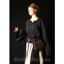 Battle Merchant Mittelalter-Bluse aus Baumwolle Schwarz