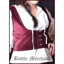 Battle Merchant Mittelalterliche Miederweste mit Knöpfen Bordeaux
