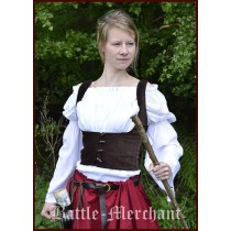 Battle Merchant Mittelalterliche Miederweste mit Knöpfen Braun