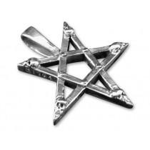 Battle Merchant Pentagramm-Anhänger mit Totenschädeln