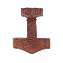 Battle Merchant Thorshammer aus Holz mit geschnitztem Gesicht