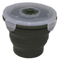 MFH Lunchbox Silikon Rund Oliv 660 ml
