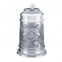 Fritzmann Verzierter Zinn-Bierkrug 500ml mit Schütze-Motiv