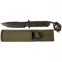 MFH Messer mit feststehender Klinge Schwarz-Tarn Paracord 28cm