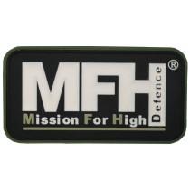 """MFH Klettabzeichen """"MFH"""" Schwarz 3D 7,5x4cm"""