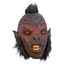 Battle Merchant Ork-Maske Rot mit Haaren