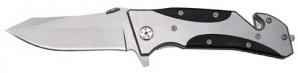 FoX Outdoor Einhand-Klappmesser mit Gurtschneider Silber 20 cm
